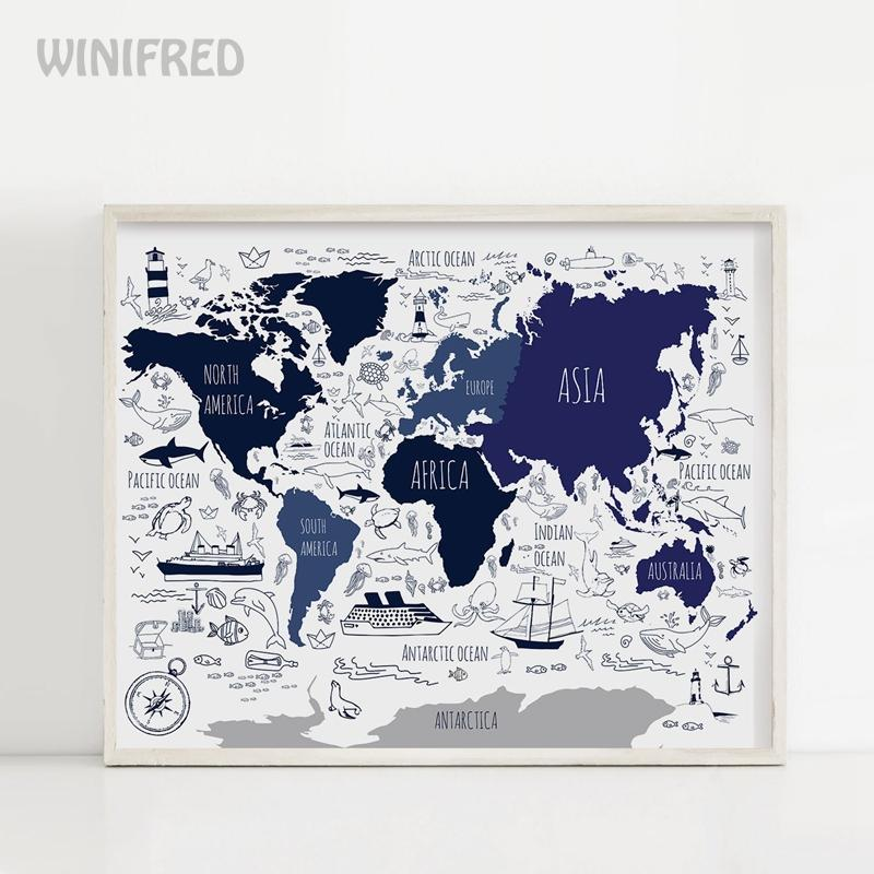 Темно-синяя морская карта мира, плакат для мальчиков, декор комнаты, мультяшная карта, Картина на холсте, настенные художественные принты, д...