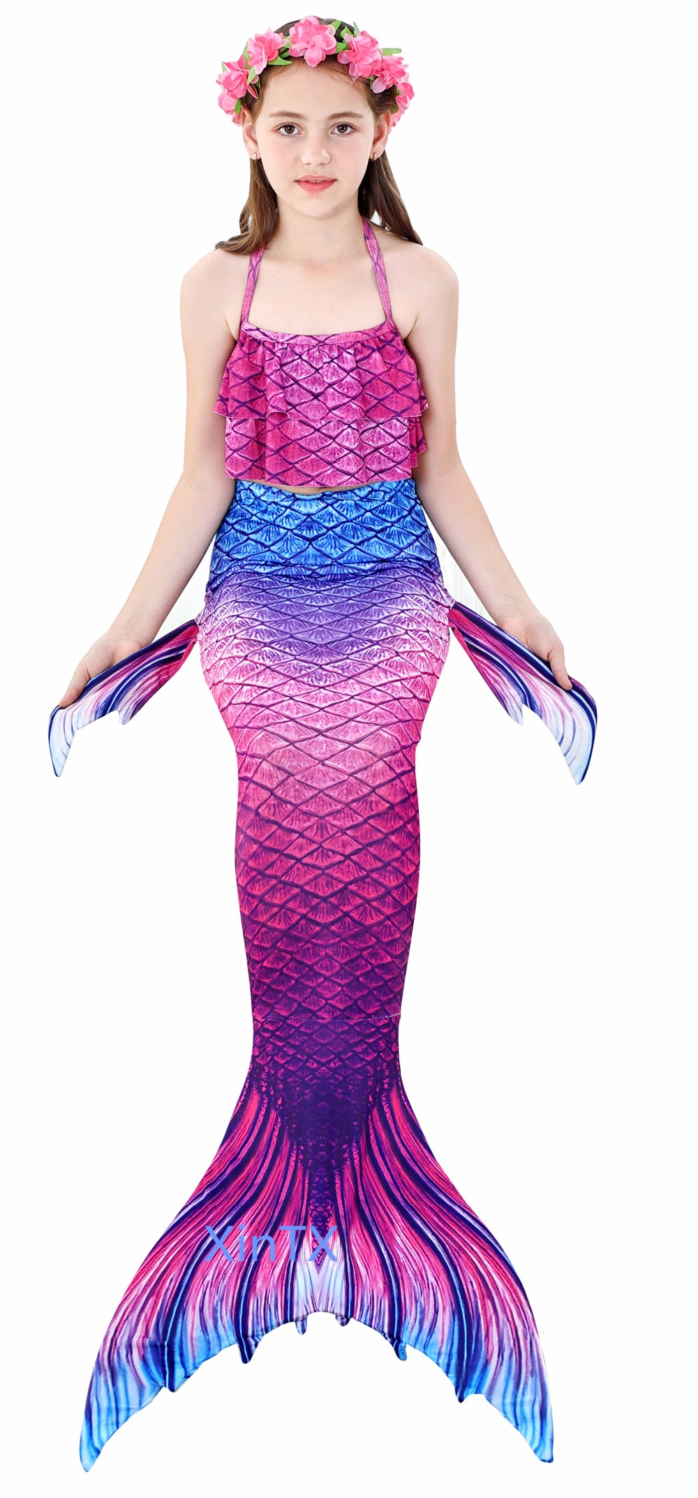 H9b665c3cab074b28aaa874ad71c65a7fC - 4PCS/Set HOT Kids Girls Mermaid Tails with Fin Swimsuit Bikini Bathing Suit Dress for Girls With Flipper Monofin For Swim