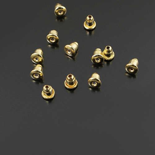 (F726) 100 piezas 6*5mm cubierta de Hierro y Latón goma estilo bala pendiente tapón trasero Diy accesorios de joyería al por mayor