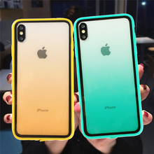 Rainbow Gradient Soft Silicone Frame Shockproof Case For iphone 11 XS Max XS 6 6s 7 8 Plus Acrylic Transparent Protective Cover