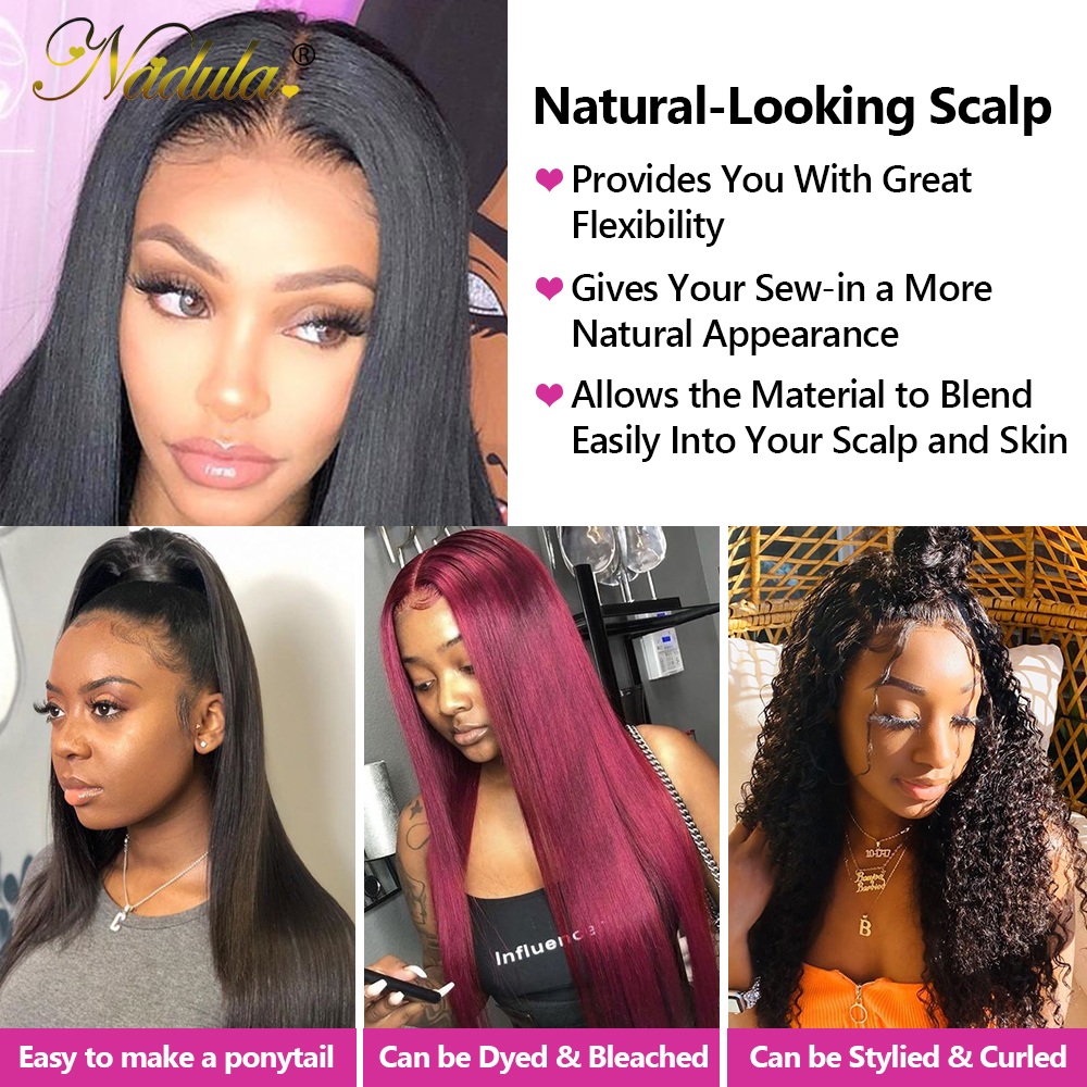 13x4 Straight  Lace Frontal 28 30 inch Bundles With Frontal  Straight Hair Bundles With Closure Nadula Hair 5