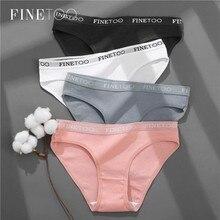 FINETOO 3 – culotte Sexy en coton pour femmes, sous-vêtements féminins, couleur unie, Lingerie intime