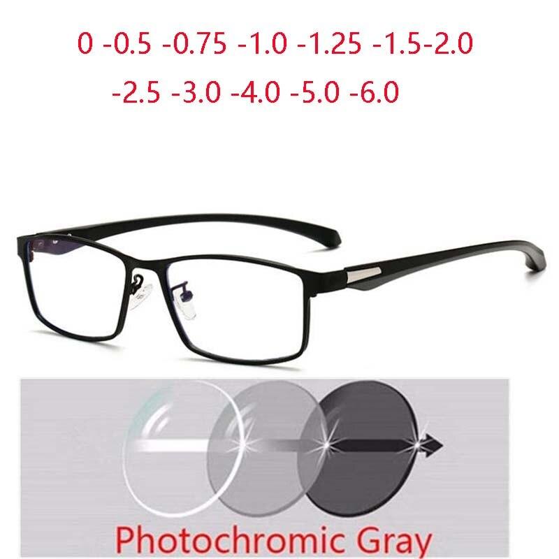Óculos quadrados de miopia do quadro completo com o metal do grau anti-azul óculos de prescrição de luz 0 -0.5 -0.75 -1.0 -1.5 -2.0 a-6.0