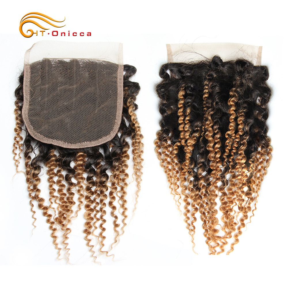 Htonicca 4x4 Closure 8 Inch Kinky Curly Closure Three Part Human Hair Extension Jerry Curl Human Hair Closure 4*4 Lace Closure