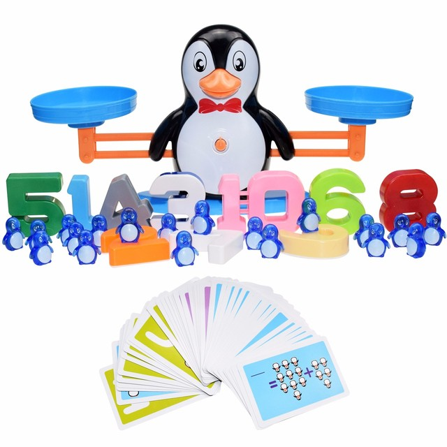 Montessori Math Toy Digital Monkey Balance Scale Educational Math Penguin Balancing Scale Number Board Game Kids Learning Toys 5