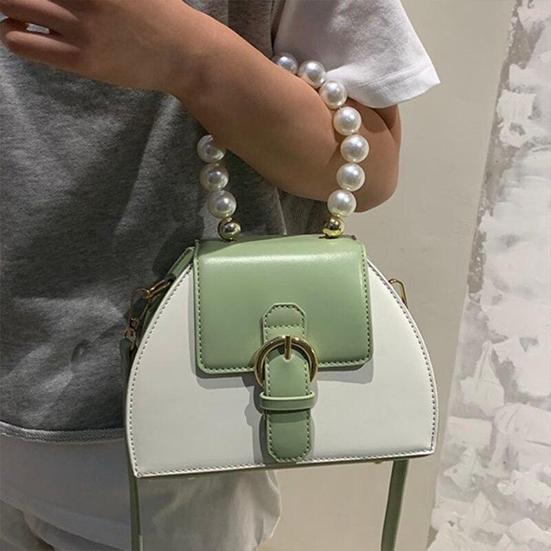Сумка-тоут женская из экокожи, Модный повседневный саквояж кросс-боди с жемчужными ручками, сумочка на плечо, популярный простой чемоданчик...