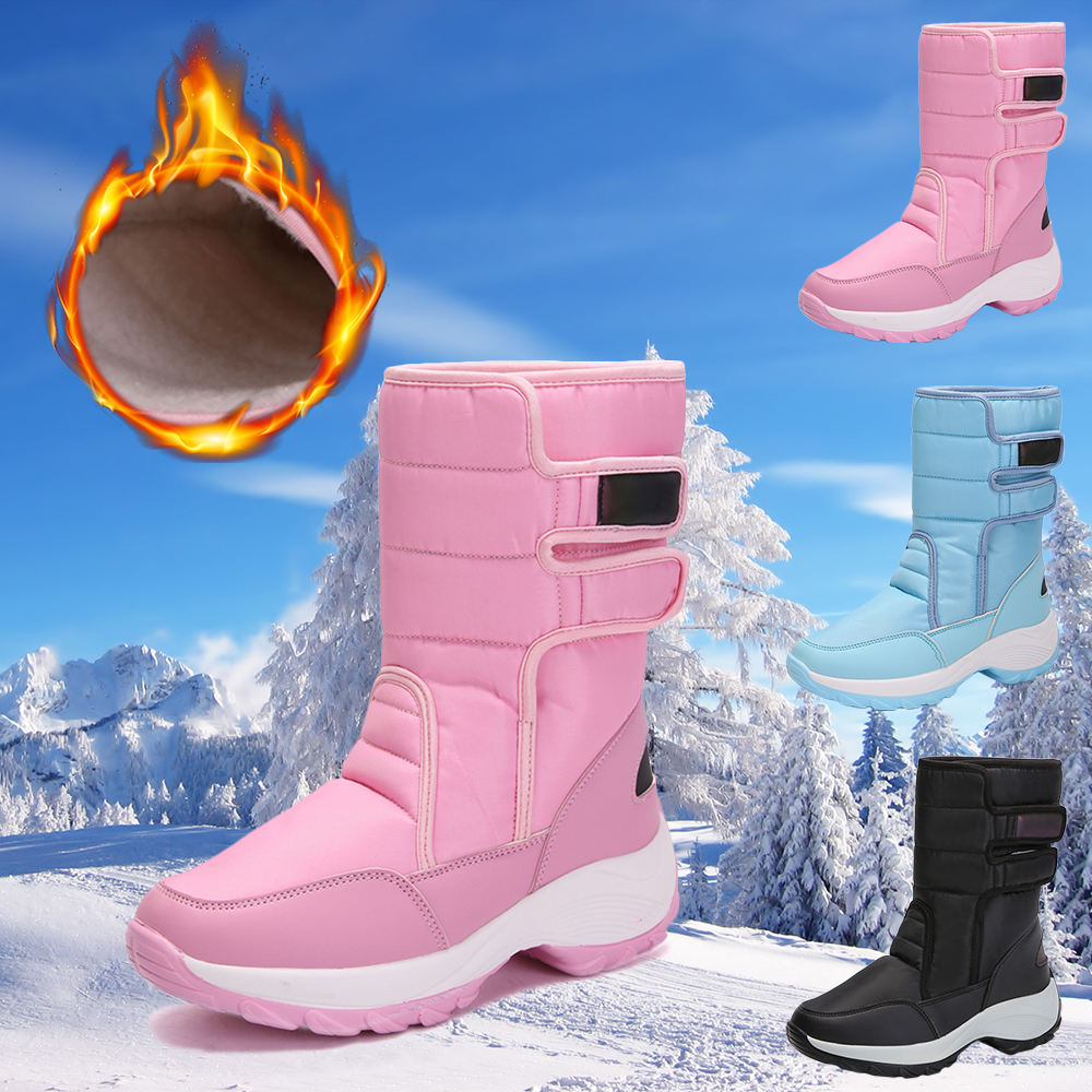 Winter WaterProof Warm Boots Women Fur Lined Hook Loop Fasteners Snow Boots Ladies Mid Calf Casual Winter Sneakers D30 image