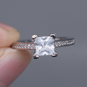 Valentine's Day Princess Cut 1Ct Engagement Cz Silver Women Wedding Band Claw Ring Sz5-10 Special image