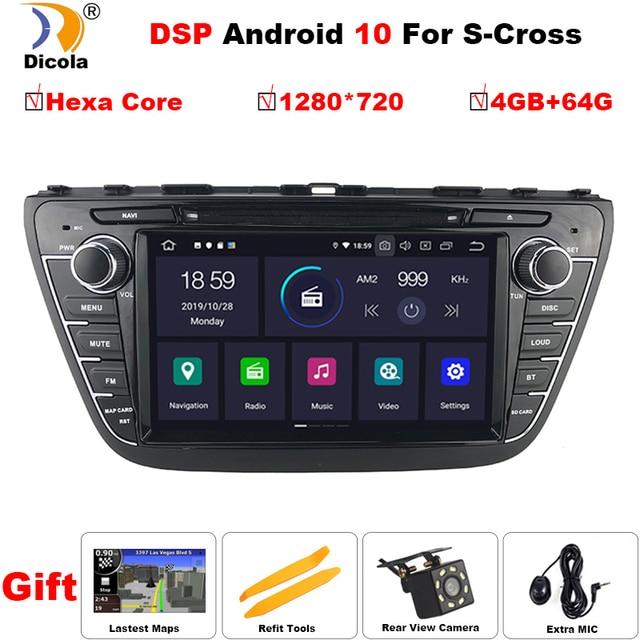 "PX6 DSP 8 ""1280*720 Android 10 Auto DVD Für Suzuki SX4 S Kreuz 2013 2015 auto Radio Stereo GPS Navigation Audio Video Backup Cam"