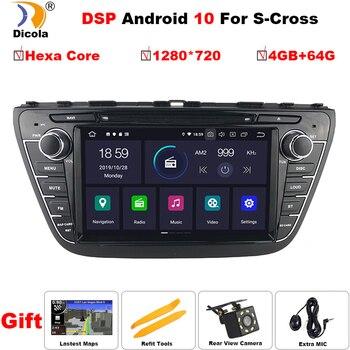 """PX6 DSP 8 """"1280*720 z systemem Android 10 samochodowy odtwarzacz DVD dla Suzuki SX4 S-krzyż 2013-2015 Auto Radio stereofoniczne z GPS nawigacji Audio wideo Backup kamera"""