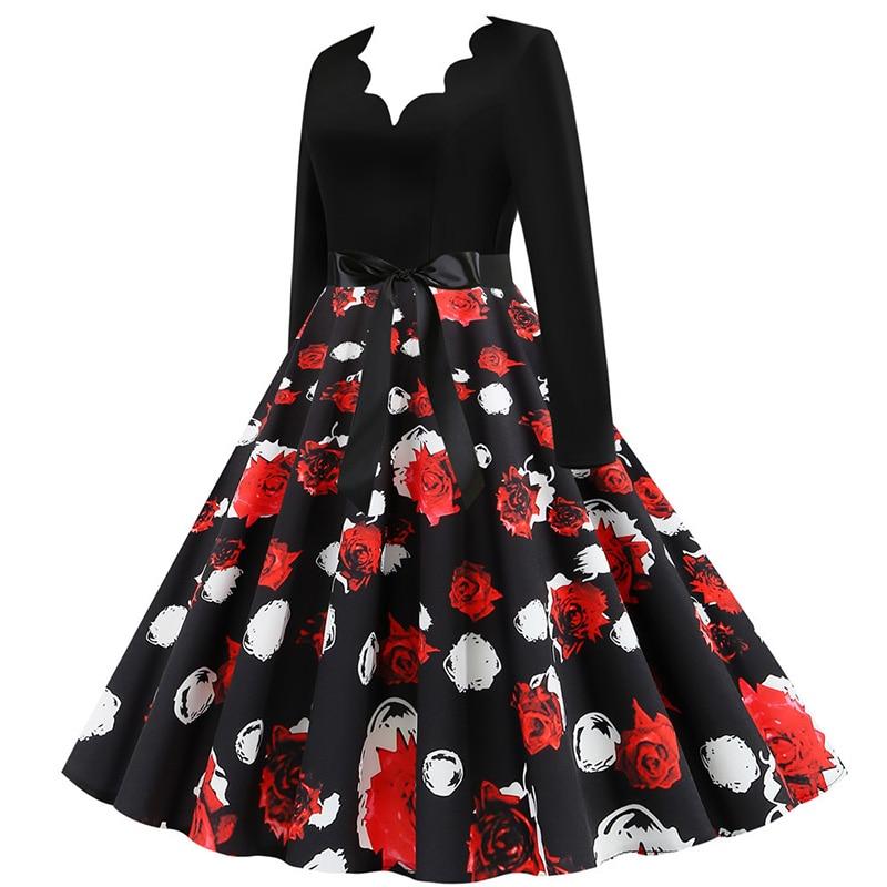 Women Long Sleeve Winter Vintage Dresses Sexy Black Music Note Print V-neck Rockabilly Pin up Party Dress Vestidos Plus size 662