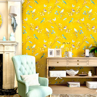 Original Chinese Yellow Blue Flowers Birds Environmentally Non Woven Wallpaper Living Room Bedroom Tv Background Wall Stickers