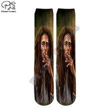 PLstar Cosmos Bob Marley Reggae Swag Funny Colorful Hip Hop Unisex new fashion casual 3Dfull Print Women/men/boy/girl cool Warm Cotton Ankle Socks type-3
