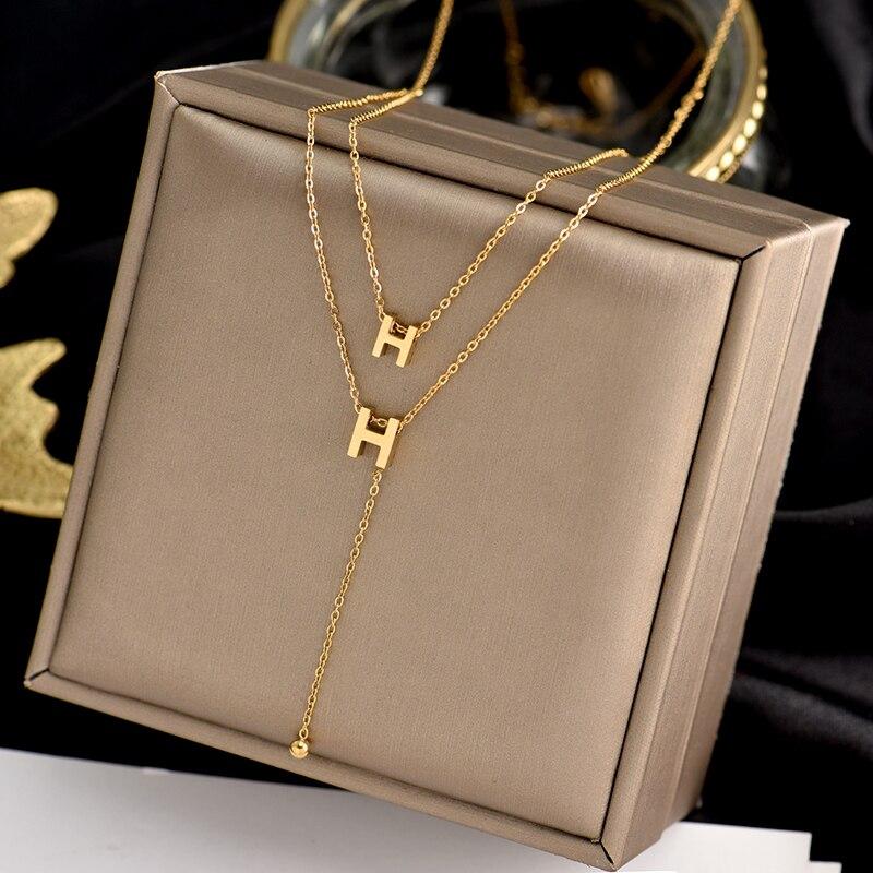 Титановая сталь, модная новинка, ювелирное изделие, 2 слоя H буквы колье в виде змеи ожерелье приятный подарок для женщин и девушек