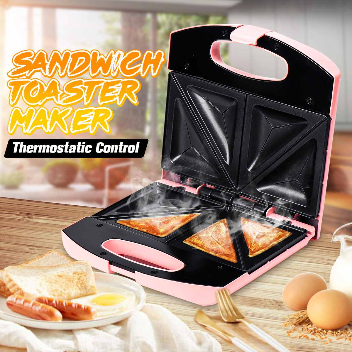 750W Electric Sandwich Bread Maker 2 Slice Toast Grill Non Stick Surface Toaster Kitchen Cooking Tools 220V Breakfast Machine