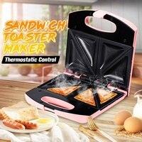 750W électrique Sandwich Machine à pain 2 tranches Toast Grill antiadhésif Surface grille pain cuisine outils de cuisson 220V petit déjeuner Machine Machines à croque-monsieur    -