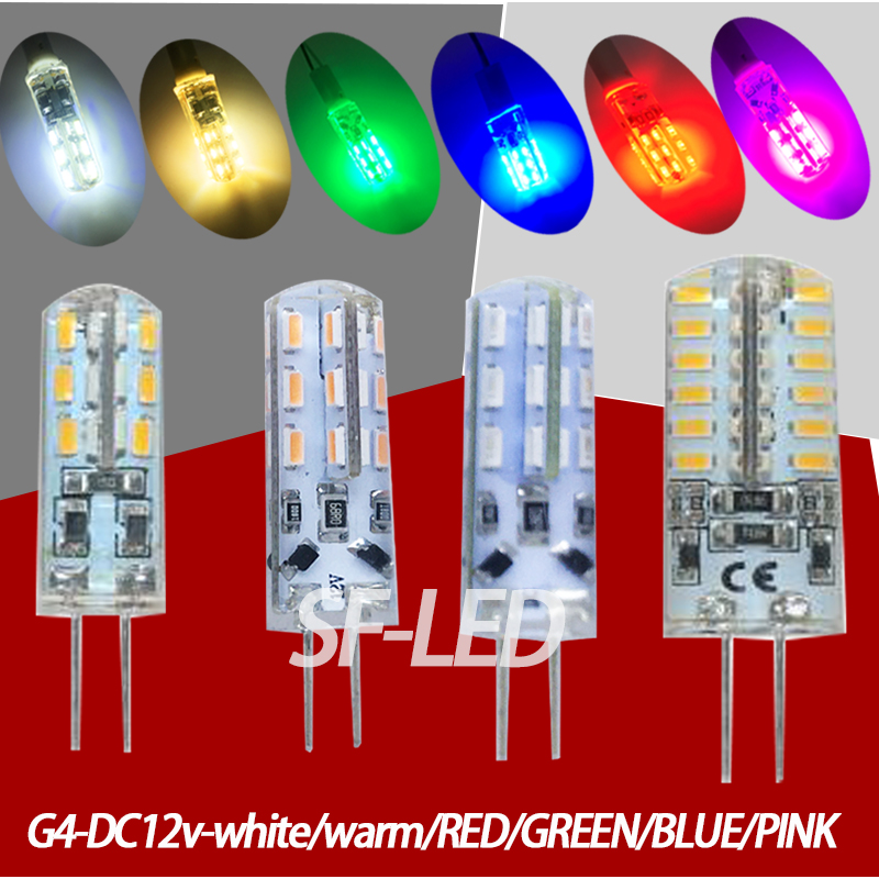 5pcs/lot DC12v led g4 blue/Green/Red/Pink 12v 24smd 3014Silica gel led g4 12v blue bulb led 12v g4 white Warmwhite colorful rgb