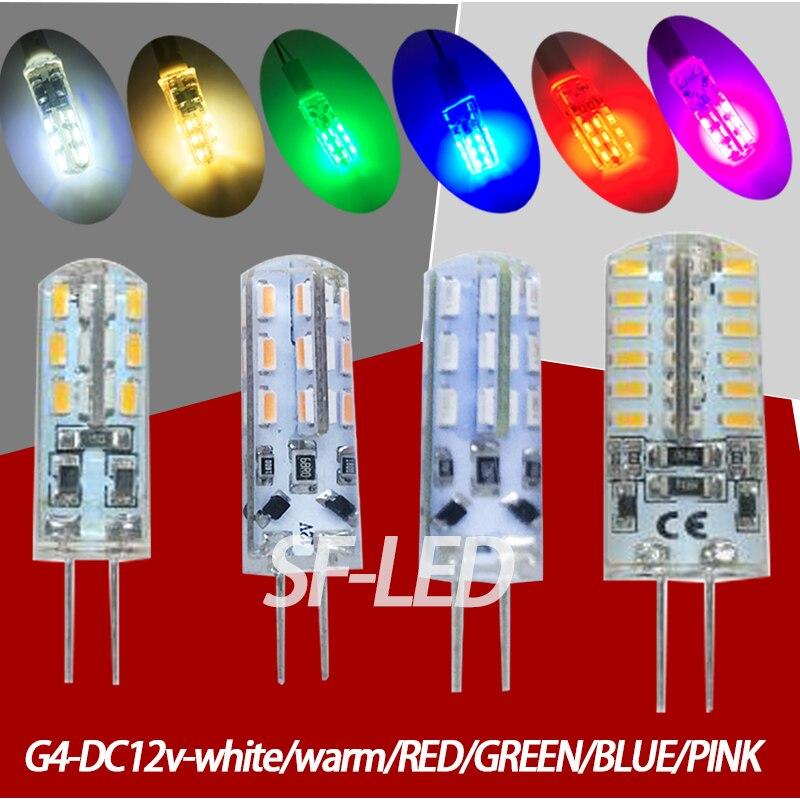 5pcs/lot DC12v Led G4 Blue/Green/Red/Pink 12v 24smd 3014Silica Gel Led G4 12v Blue Bulb Led 12v G4 White  Warmwhite Colorful Rgb