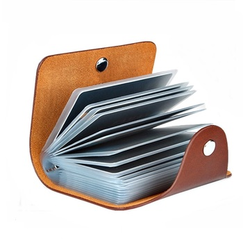 New Leather Function 24 Bits Card Case Business Card Holder Men Women Credit Passport Card Bag ID Passport Card Wallet 8 Colors 1