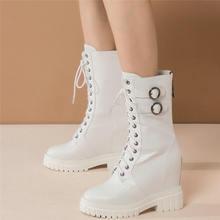 Туфли женские из натуральной кожи высокие кроссовки на платформе