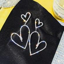 FYUAN-pendientes geométricos de gota para mujer, con diamantes de imitación, bisutería de corazón brillante, aretes colgantes de cristal, regalos de joyería