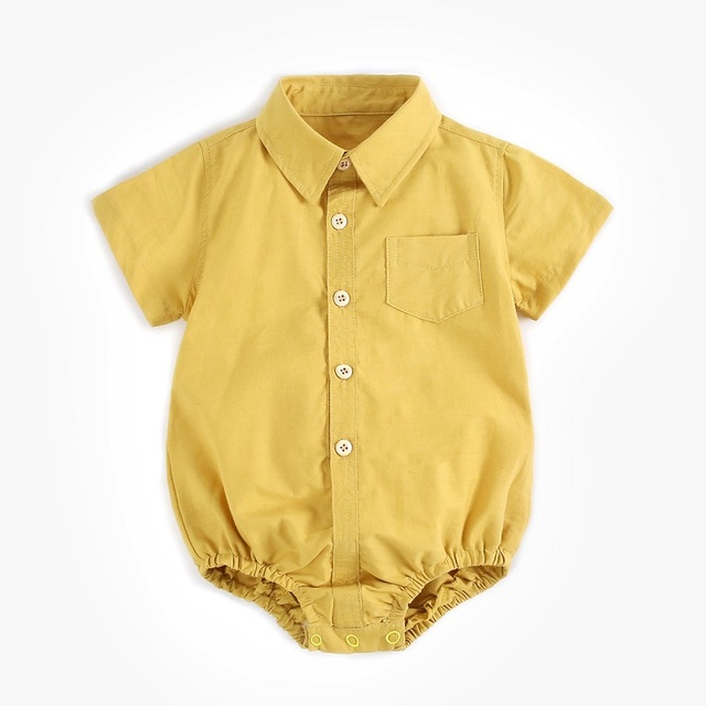 Dobre Brothers Fashionable Cute Cotton Baby Short-Sleeved Jumpsuit Newborn Climbing Suit