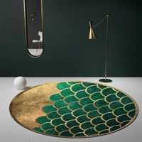 Tapis géométrique de tapis de zone de forme ronde verte de style nordique, tapis moderne de table basse de décoration à la maison de poteau de grande taille