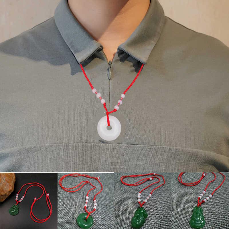 Nuova Collana di Pietra Per Le Donne Degli Uomini Intrecciato Lucky Red Corda Fibbia Rotonda Guanyin Buddha Coraggiosi soldati Pendente Della Collana Dei Monili