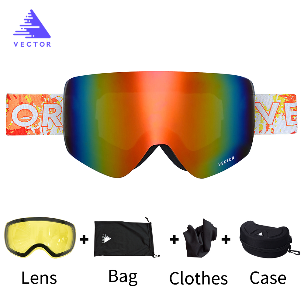 OTG Ski Goggles Interchangeable Lenses Snow Glasses Men Women Anti-fog Coatings Snowboard Skiing Sunglasses Outdoor Winter Sport