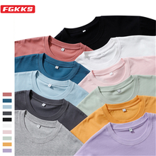 FGKKS 2021 Summer New 210g 100% Cotton Fabric T-shirt Men High Quality Solid Color Drop Sleeve Loose Tshirts
