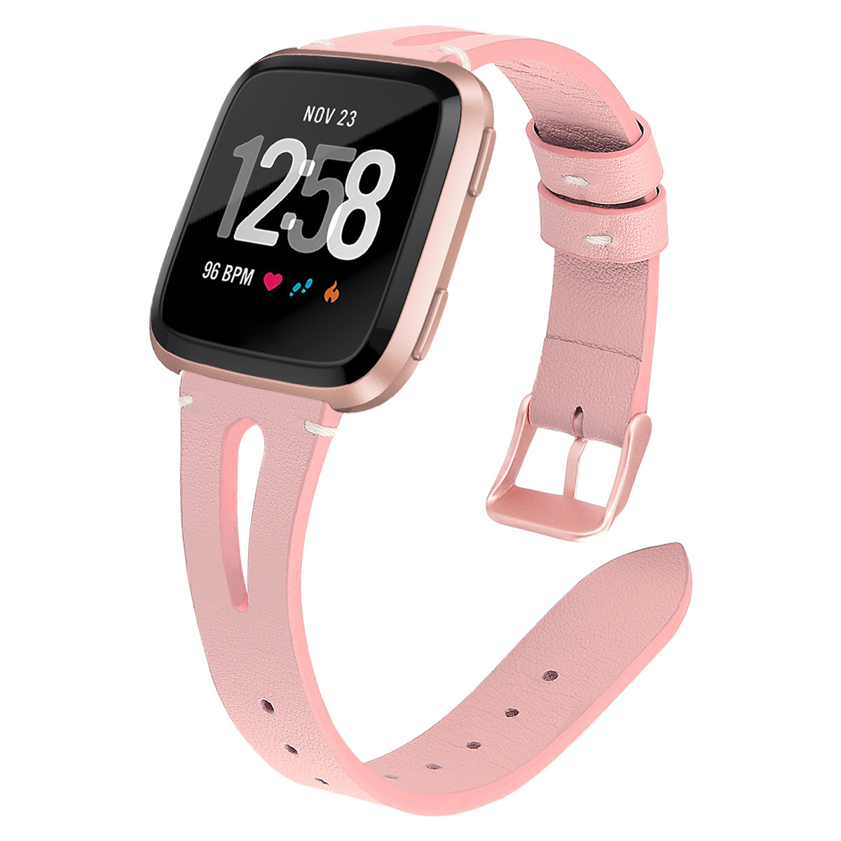 Applicable Fitbit Versa Watch Leather Watch Strap Leather Narrow-Open Watch Band