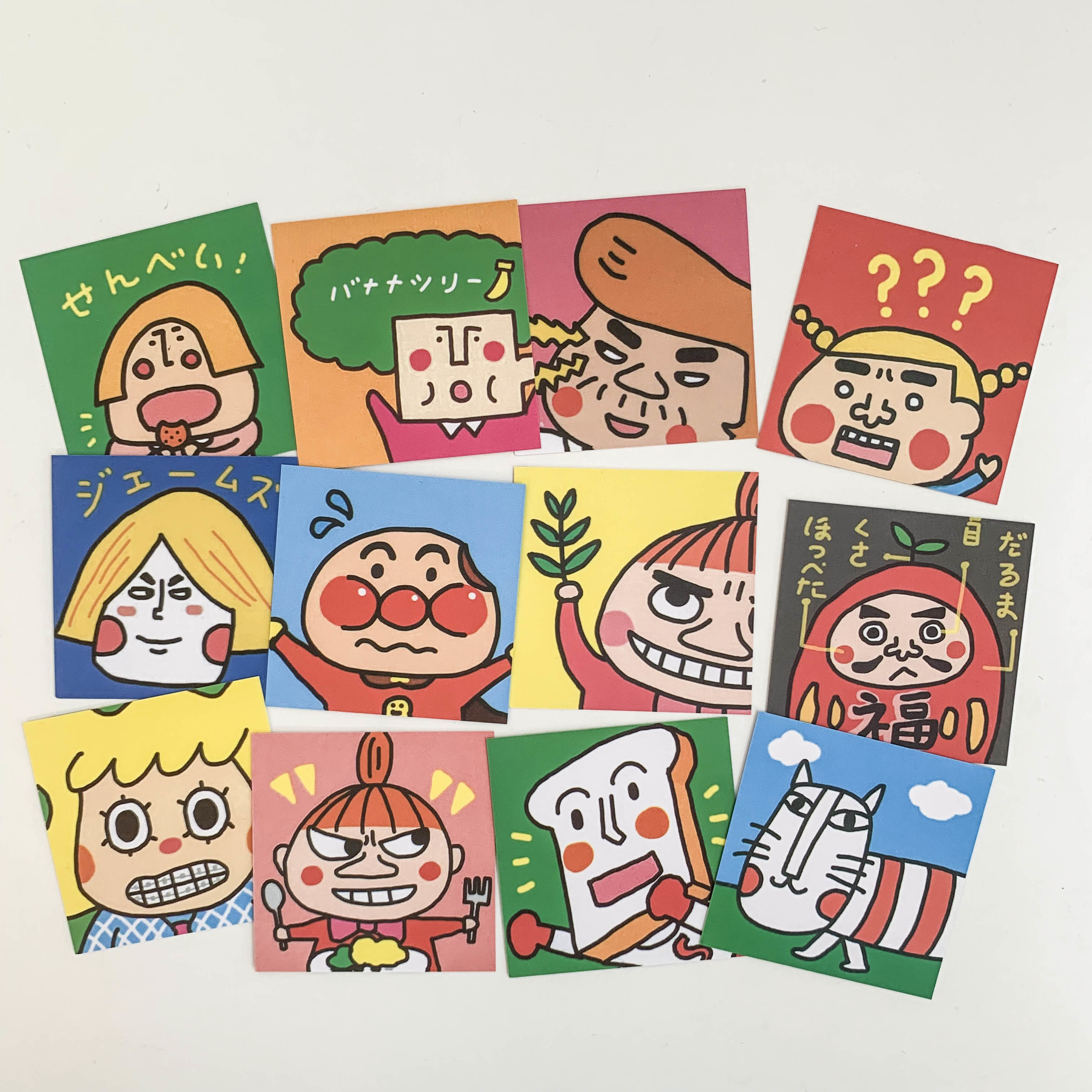 SIXONE 12 Sets Cute Cartoon Head Portrait Decorative Cards Funny Girl Mobile Phone Shell Card Hand Account Decorate Stickers