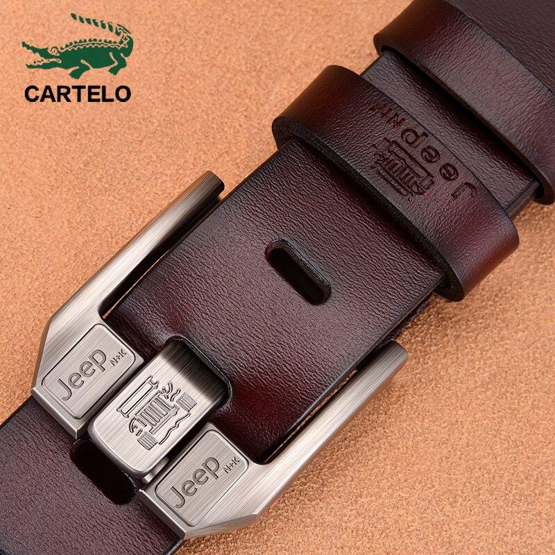 Мужской пояс из натуральной кожи CARTELO, черный пояс с пряжкой для джинсов, повседневные ремни из коровьей кожи, деловой ковбойский пояс|Мужские ремни|   | АлиЭкспресс