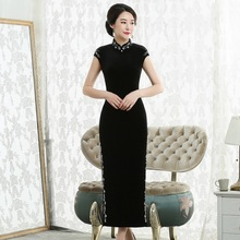 2019 년 새로운 일일 가을 패션 Qipao ao를 판매하는 실제 제조업체는 고대의 방법을 복원하는 칼라 민소매 Cheongsam 드레스를 개선했습니다.
