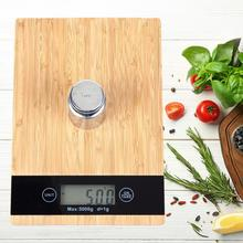 Food-Scale Platform Weighing Baking Digital Kitchen 1g Wood with Bamboo 5kg/1g Natural