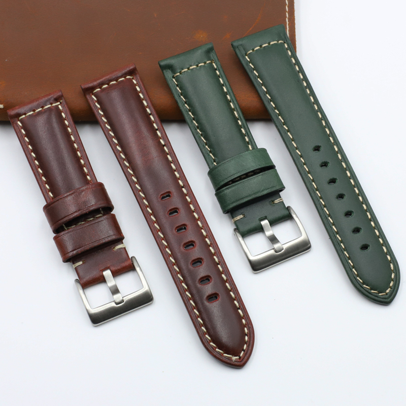 Onthelevel Genuine Leather Watchband 20 22 24mm Watch Band Green Red Color Wrist Watch Strap For Panerai Seiko Fossil Band #D(China)