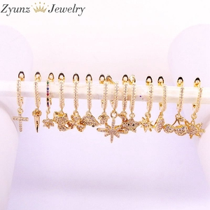 Image 1 - 10Pairs, Gold Color Single Hoop Small CZ Dangle Earrings for Women Fashion Dainty Tiny Earring Ear Piercing Jewelry Gift