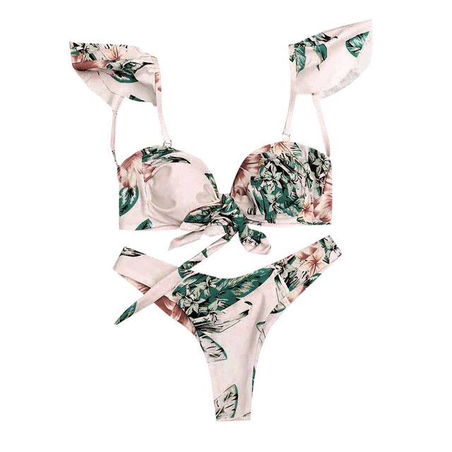 Women Floral Print Bikini Set Swimming Two Piece Swimsuits Swimwear Beach Suit Купальник Biquini Купальники   2