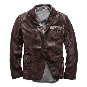 AL0708 Read Description! Asian size goat leather jacket genuine goat leather rider jacket m65 0003 read description asian size duck feather super warm m51 m65 parka jacket lining