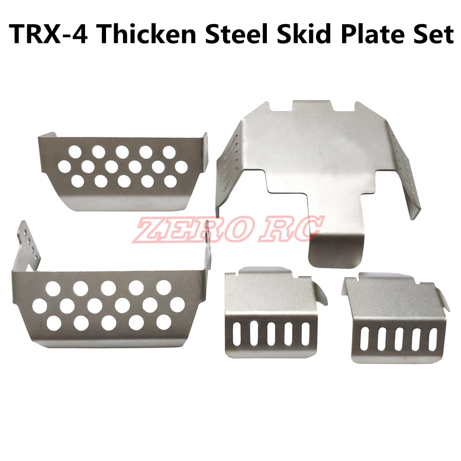 Stainless Steel Chassis Armors Protection Skid Plate for Traxxas TRX-4 RC Car RC Part Accessory Silver 6 Pcs RC Chassis Armors Set