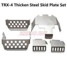 Placa de deslizar de aço inoxidável, parte inferior do amortecedor traseiro + eixo + caixa de montagem da caixa de velocidades, para traxxas TRX 4 t4