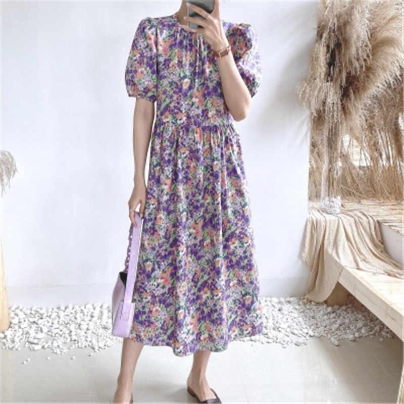 2020 สินค้าใหม่ดอกไม้พิมพ์สไตล์เกาหลีฤดูร้อนชุดสำหรับสุภาพสตรีO-Neckพัฟแขนผู้หญิงSundresses Chicผู้หญิงเสื้อผ้า