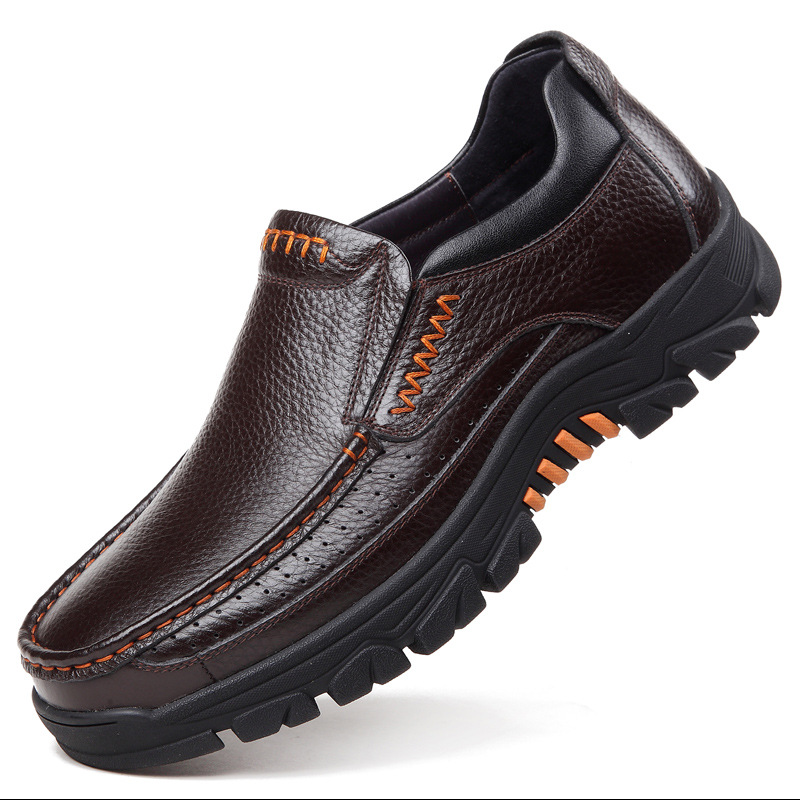 Shoes Men Footwear Loafers Brown slip-On Soft-Cow-Leather Black Male New A2088