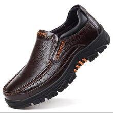Chaussures décontractées en cuir véritable pour homme, mocassins en cuir de vache souple de couleur noire et marron faciles à enfiler, nouveauté mode 2020, No A2088