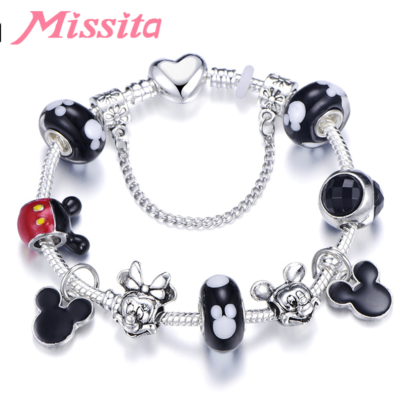 MISSITA Cute Mickey Series Bracelets with Mickey Minnie Charms Murano Beads Brand Bracelet for Women Valentine 39 s Day Gift in Charm Bracelets from Jewelry amp Accessories