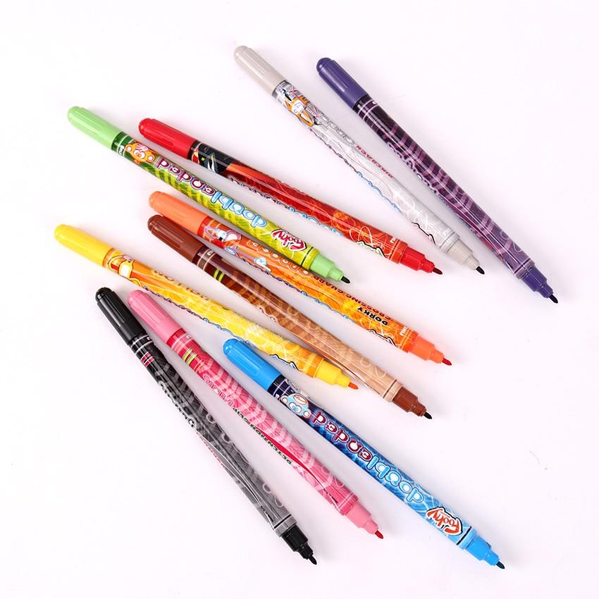 Two Head Watercolor Pen Children Drawing Colored Manga Sketching Gift Pen School Kid Can Be Washing Comic Pen 10PCS