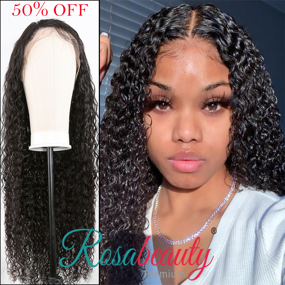 Rosabeauty Kinky Curly Peruvian Lace Front Human Hair Wigs Preplucked Deep Water Wave 13x6 Lace Frontal Hair Wig For Black Women