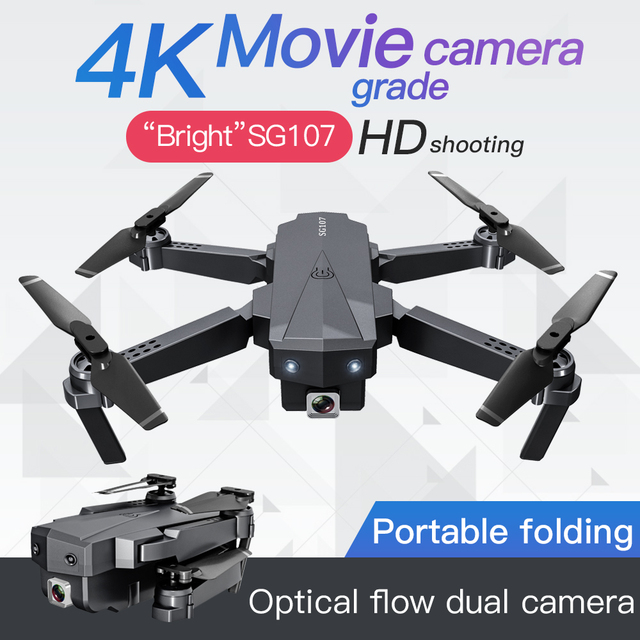 New SG107 Mini Drone 4K HD Dual Camera Foldable Portable Quadcopter One Click Return FPV Drone Follow Me RC Quadcopter Boy Toy