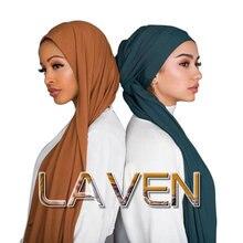 เจอร์ซีย์ริ้วรอย Hijab ผ้าพันคอผ้าฝ้ายธรรมดาความยืดหยุ่นผ้าคลุมไหล่ crinkle Hijab ยาวมุสลิมหัวผ้าพันคอ/ผ้าพันคอ 10 ชิ้น/ล็อต