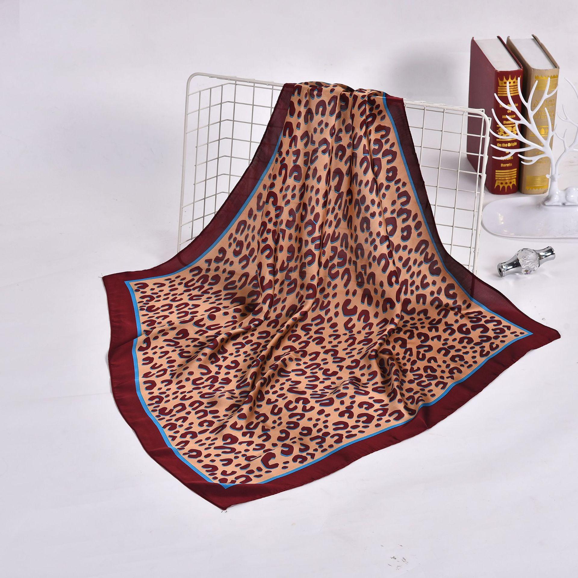 70*70 см Модный Шелковый Атласный платок для женщин, Леопардовый принт, платок на голову, шарфы, Квадратный маленький шейный платок для женщин